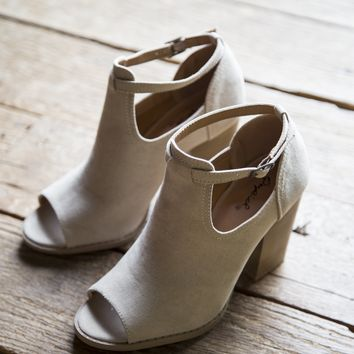 Georgia Suede Peep Toe Boot, Taupe