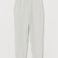 Ankle-length Pull-on Pants - White/black striped - | H&M US