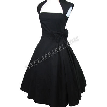 Rockabilly Vintage Design Black Belted Party Dress
