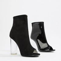 Public Desire Woke Smoke Clear Detail Heeled Ankle Boots at asos.com