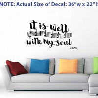 "LARGE ""It Is Well With My Soul"" Wall Decal - Best Loved Hymns Series - 5 of 5"