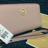 Michael Kors Fulton Large Flat Multi Use Phone Case Clutch Pink Blossom Wallet