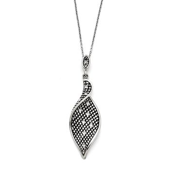 Stainless Steel Crystal Antiqued with 2.5in extension Necklace