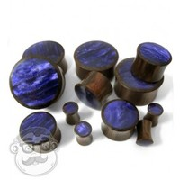 Sono Wood Plugs With Purple Resin Inlay (6 Gauge - 1 Inch) | UrbanBodyJewelry.com