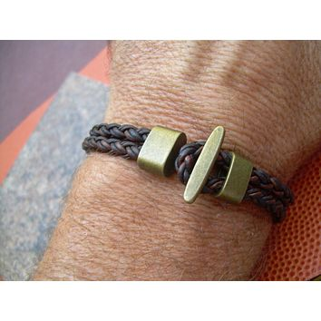 Mens Bracelet Brown Braided Leather Cuff Bracelet with Bronze Hardware Womens Bracelet Mens Jewelry Leather Jewelry Bronze Bracelet,