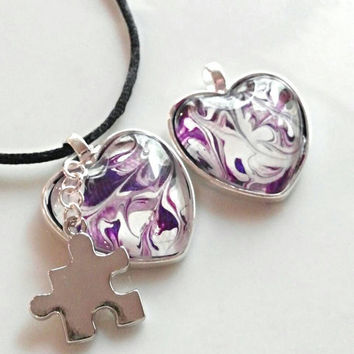 Autism necklace, autism awareness jewelry, puzzle piece jewelry, purple abstract autism pendant, heart necklace, gifts under 20,