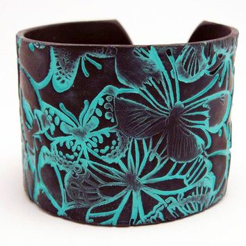 Black Cuff Bracelet Polymer Clay Jewelry Wide Cuff Turquoise Butterfly Hand Stamped