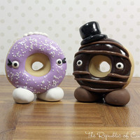 Custom Donut Bride and Groom Wedding Cake Toppers - Donut Tower - Dessert Table Decoration - Handmade to Order in Your Colors