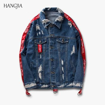 Mens Denim Jacket 2018 Kanye West Hip-hop Harajuku Hole Patch Ripped Black/Blue Distressed Ribbons Denim Jacket Men Clothes