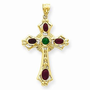 14k Gold Ruby & Emerald Cabochon Cross Pendant