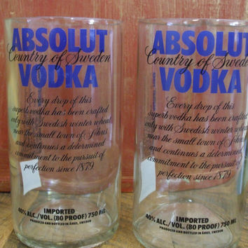 Pair of Absolut Tumblers from 750ml bottles, set of 2