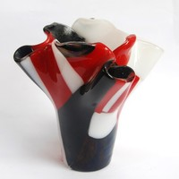 A red white and black glass vase handmade by dalit by dalitglass