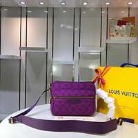 Kuyou Gb29726 Lv Louis Vuitto Monogram Outdoor Denim Bags Purple Messenger Bag M44626 25x20x10.5cm