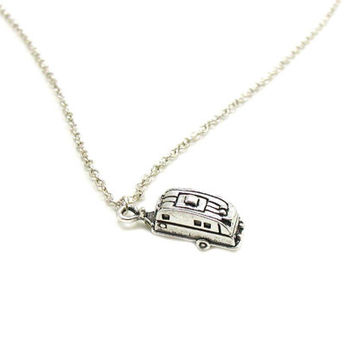 Silver Camper Necklace, Charm Necklace, Charm Jewelry, RV Necklace, Camper Jewelry, Trailer Necklace, Camping Necklace, Camping Jewelry