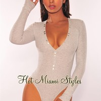 Heather Gray Ribbed Knit Button Up Long Sleeves Bodysuit