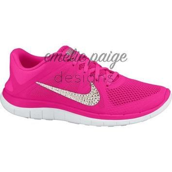 Nike Free 4.0 (Pink) running shoes with Swarovski Crystals