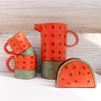 Watermelon Pitcher-Water Jug-Ceramic Jug-Ceramics And Pottery