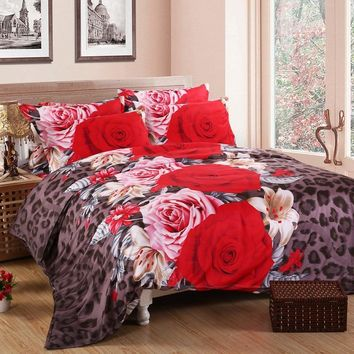 Cool 3D bedding sets  4 PCS comforter duvet cover set winter bedsheet queen king size Bed linen bedclothes flower print HomeTextilesAT_93_12