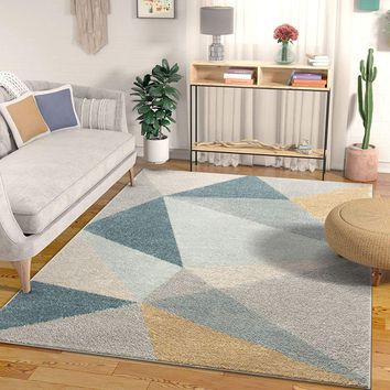 7030 Gold Blue Gray Abstract Contemporary Area Rugs