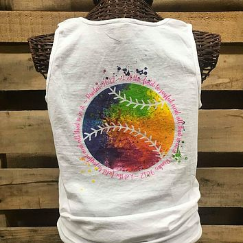 Southern Chics Let the Field Be Joyful Softball Baseball Watercolor Comfort Colors Bright T Shirt Tank Top