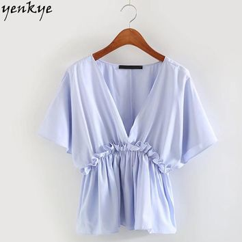 Fashion Light Blue Blouse Shirt Women V Neck Short Sleeve Elastic Waist Frill Trim Summer Tops