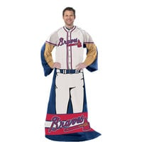 Atlanta Braves MLB Adult Uniform Comfy Throw Blanket w- Sleeves
