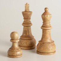 Carved Wood Pawn Chess Piece Decor