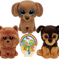 Ty Beanie Babies BARLEY Chow, DOUGIE Dachshund, TUCKER Brown Dogs Gift set of 3 Plush Toys 6-8 inches tall with Bonus Animals Sticker
