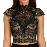 Black All About The Lace Crop Top
