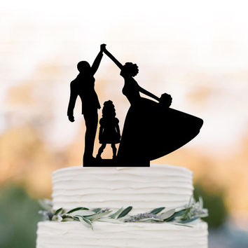 bride and groom high five Wedding Cake topper with child, family silhouette wedding cake topper with  girls cake topper