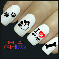 Nail Art Decals 32 Love My Dog Nail Decals
