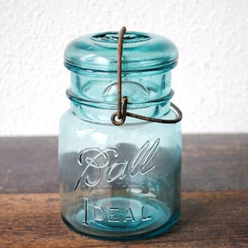 Aqua Blue Ball Mason Ideal Jar, Fruit Canning Antique Industrial Glass One Pint, Wire Bail Lightning Lid