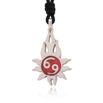Sun Yin Yang Silver Pewter Charm Necklace Pendant Jewelry With Cotton Cord