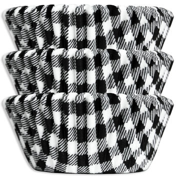 Black Gingham Baking Cups