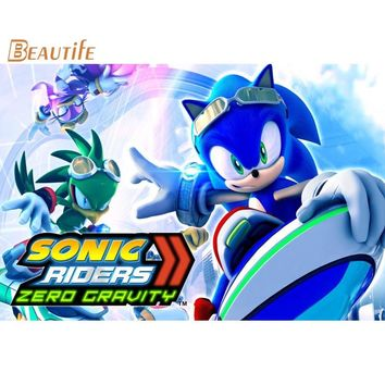 Custom Sonic Hedgehog 03 Poster Cloth Silk Poster Home Decoration Wall Art Fabric Poster Print 30X45cm,40X60cm.50X75cm,60X90cm