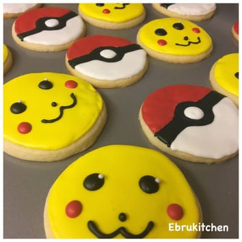 Pokemon Cookies - 12 Fresh Baked Pokeball and Pikachu Cookies with Royal Icing