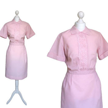 Vintage White Sister Nurse Uniform | 1960's Vintage Dress | 60's Pink Dress | Nylon Dress