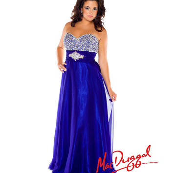 Mac Duggal 2014 Plus Size Prom Dresses - Cobalt Strapless Sweetheart Beaded Chiffon Long Gown