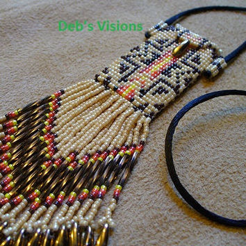 Native American inspired Pendleton style beaded amulet bag