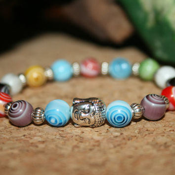 Multi-Color Swirl Beaded Bracelet, Silver Buddha Jewelry, Wrist Mala Bead, Yoga Jewelry, Mantra Bracelet, Woman Gift Ideas, Christmas Gift