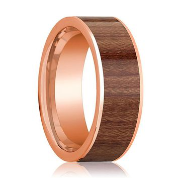 Mens Wedding Band Polished Flat 14k Rose Gold Wedding Ring with Rose Wood Inlay - 8mm