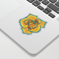 Yellow and Turquoise Rose Sticker by drawingsbylam