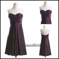 A-line Sweetheart Sleeveless Above the knee Satin Short Bridesmaid Dress Prom Dress Formal Evening Dress Party Dress 2013 With Pleated