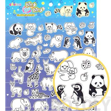 Super Big Mixed Animal Shaped Glow in the Dark Spongy Stickers for Scrapbooking