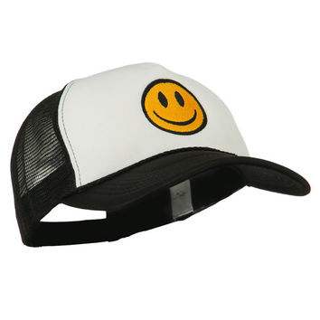 Smiley Face Embroidered Big Size Trucker Cap