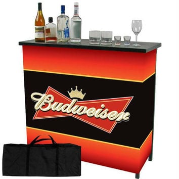 Budweiser Metal 2 Shelf Portable Bar Table w- Carrying Case