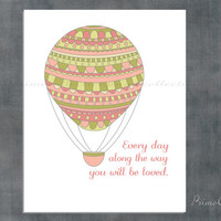 Girl Nursery Art Print / hot air balloon / you will be loved / 8x10 inch / pink and green / wall art / artwork for baby girl room decor