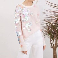 """Miu Miu"" Women All-match Fashion Multicolor Sequin Long Sleeve Round Neck Sweater Tops"