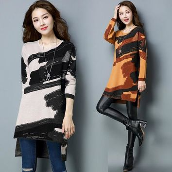Fall Winter Women Irregular Wool Printed Long Sleeve Pullover , Knitted Sweater  Woman Yellow Loose 3XL Woolen Sweaters Dress