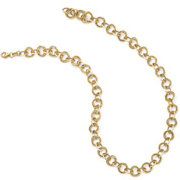 Italian 10mm Textured Double Link 14k Yellow Gold Necklace, 17.5 Inch